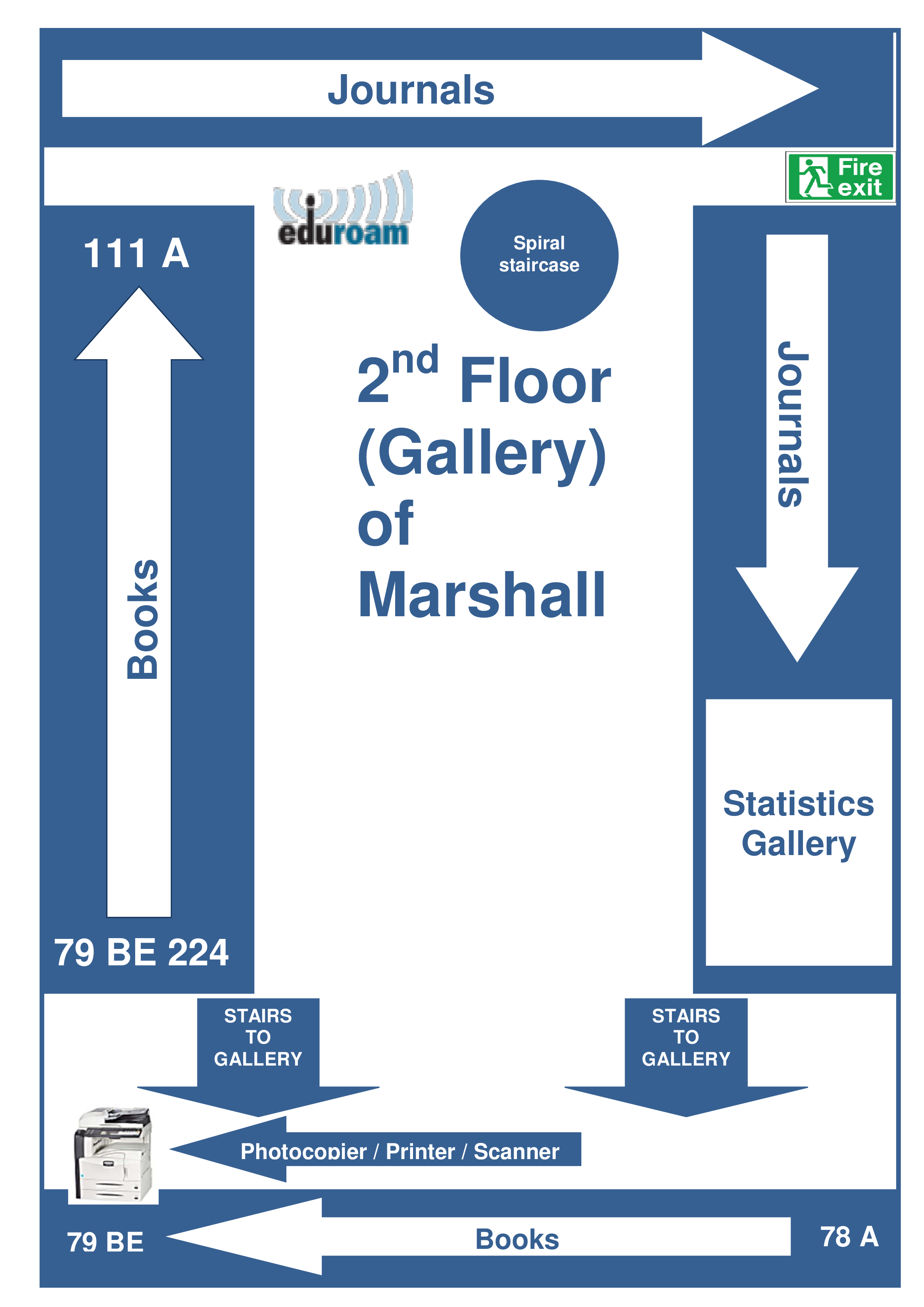 Gallery / 2nd floor of Marshall Library plan