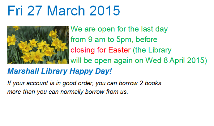 27 March 2015 - Happy Day @ Marshall Library