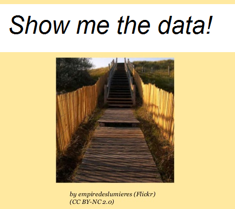 """Book a place on """"Show me the data!"""" session: 6 Feb 2015: 14:30-15:15"""