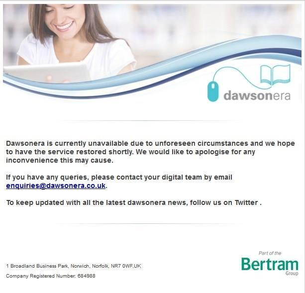 Dawsonera (ebook platform) not working at the moment