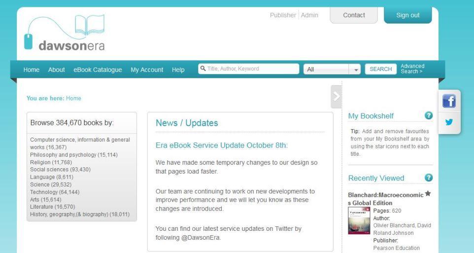Dawsonera (ebook platform) working again