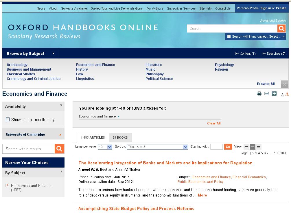 Ebooks trial: Oxford Handbooks Online (until 30th April 2014)