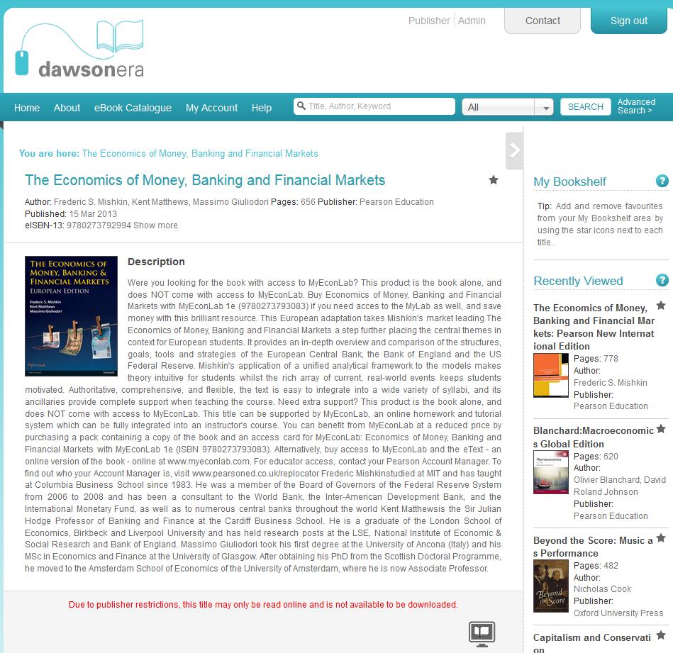 Mishkin ebook on Dawsonera 'read online' only