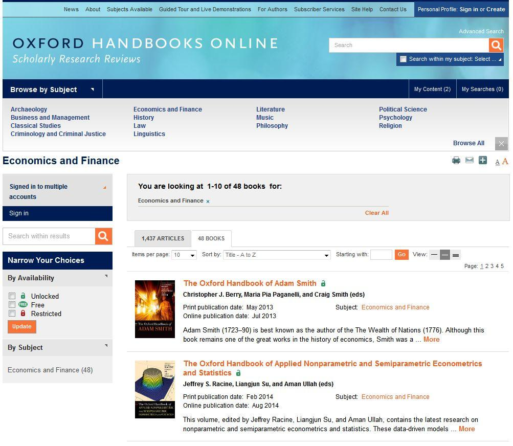 New ebooks on Oxford Handbooks Online available