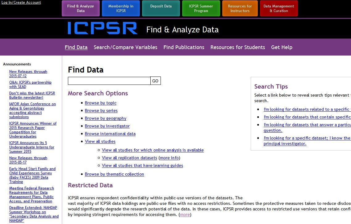 New eresource: Social science data for analysis and teaching available via ICPSR!
