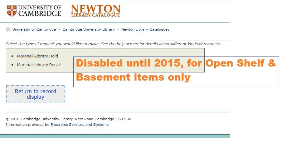 Open Shelf and Basement items: holds and recalls now turned off (vacation borrowing)