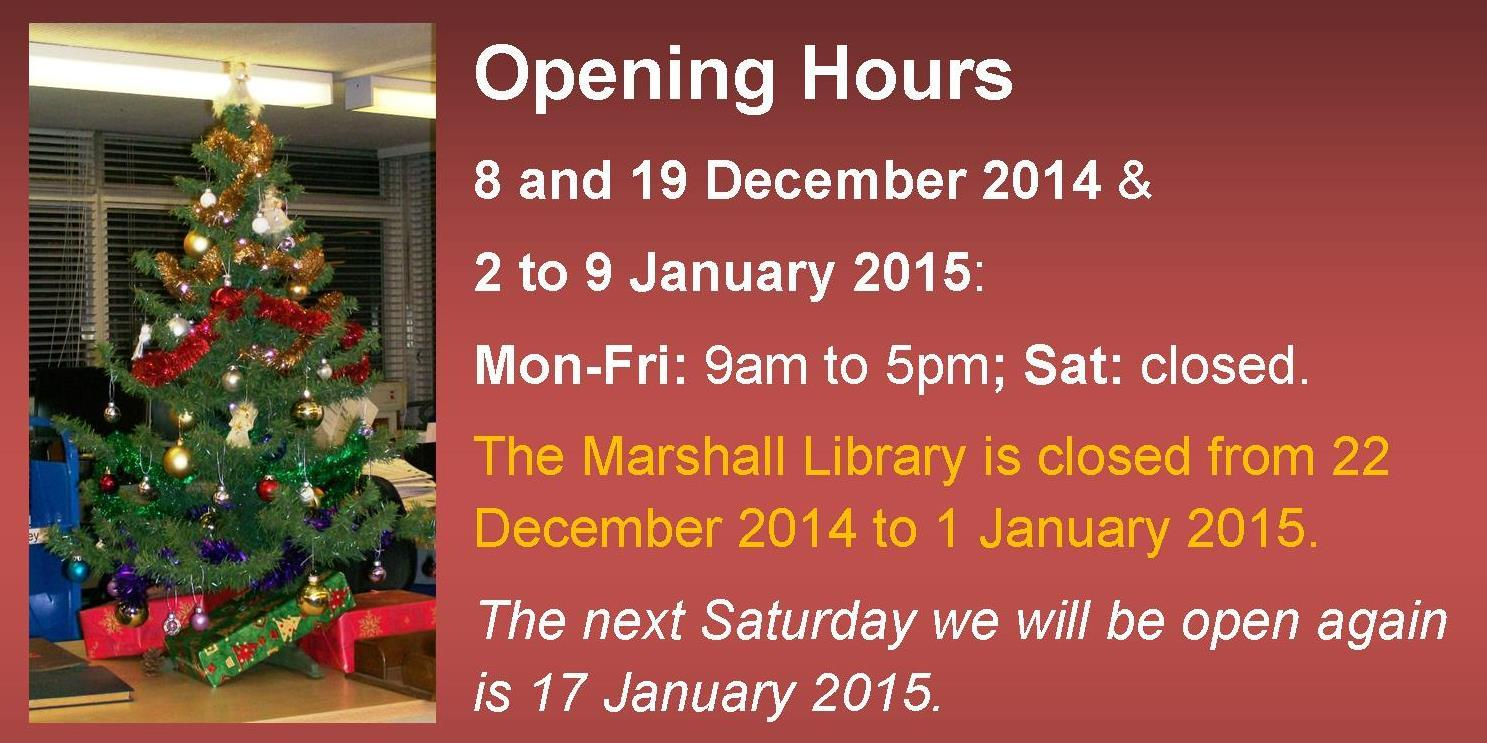 Opening Hours & Closed Days