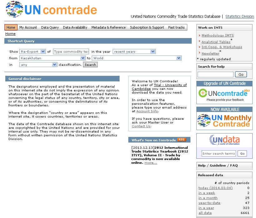 Premium access to UN comtrade